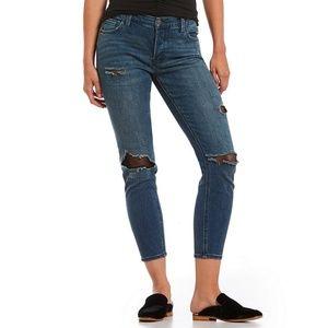Free People | Distressed Fishnet Skinny Jeans